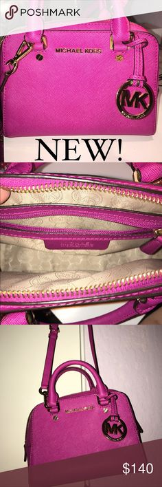 Michael Kors pink cross body Brand-new Michael Kors bag that just sat in my closet and looks absolutely flawless. It has one big compartment and one zip up small pocket on the inside. 100% authentic. Pink bag with gold accents Michael Kors Bags Crossbody Bags