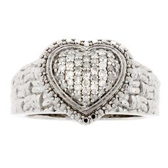 0.25ctw. Sterling Silver White Diamond Heart Ring