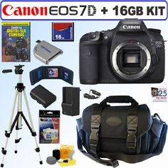 Canon EOS 7D 18 MP CMOS Digital SLR Camera with 3-inch LCD (Body) + 16GB Deluxe Accessory Kit by Canon. $1244.00. With a host of features designed to enhance every facet of the photographic process, from still images to video, the EOS 7D represents a whole new class of camera. Made to be the tool of choice for serious photographers and semi-professionals, the EOS 7D features an 18.0 megapixels APS-C size CMOS sensor and dual DIGIC 4 image processors, capturing tremendous image...