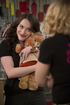 Hugs ~ Max (Kat Dennings) ~ 2 Broke Girls ~ Episode Photos ~ Season 4: Episode 3: And the Childhood Not Included #amusementphile