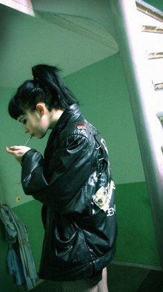 leather jacket black bang ponytail