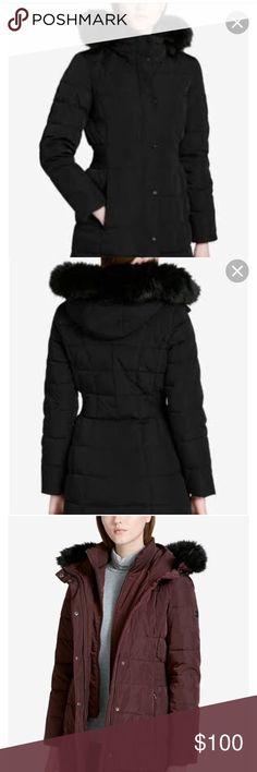 Calvin Klein puffer coat Heavy winter coat. Double zipper. Oversized fur coat. Coat is black. Other colors posted to show style. Calvin Klein Jackets & Coats