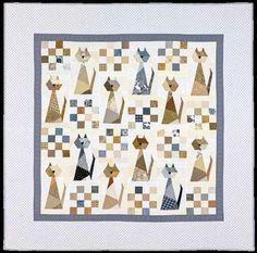 Cats love scraps! The kitties in this adorable patchwork quilt especially love scraps! Grab your scrap basket, brush off the cat hair and make this charming 68″ quilt designed by Carolyn Hugh…