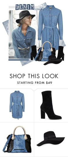 """Denim"" by diane-hansen ❤ liked on Polyvore featuring Topshop, Alexander Wang, Steve Madden, San Diego Hat Co. and Ippolita"