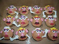 So adorable! Mr.and Mrs. Potato Head cupcakes! From Plumeria cake studio: http://jenniferstonebarger.blogspot.com/2010/05/toy-story-cupcakes.html