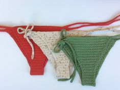 Crochet bikini bottoms -100% cotton Made to order cheeky moderate coverage - color shown on model earthy leaf Available sizes - Small Medium Large -----COLORS: colors are pictured to best of mine and cameras ability, as you know sometimes these can change a little depending on