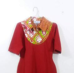 Items similar to African fashion Red bodycon dress with african print yoke, shirt dress african,African collar dress, fitted dress etc on Etsy Collar Dress, Shirt Dress, Red Bodycon Dress, Kitenge, Handmade Dresses, African Fashion, Dress Making, Favorite Color
