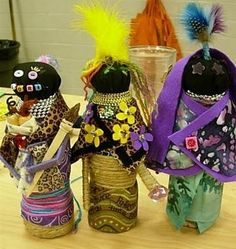 Ndebele dolls.  African-inspired dolls made from empty water bottles.