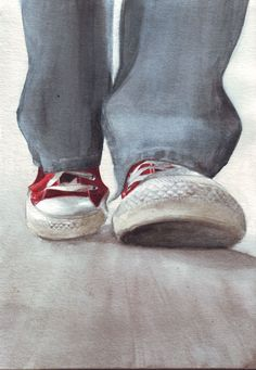 Original watercolor painting of Walking Red Converse All Stars and Levi's art