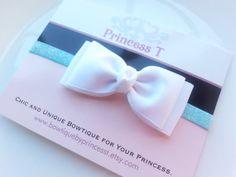 Girls/Baby Headband White Hair Bow Headband by BowtiquebyprincessT, $6.90