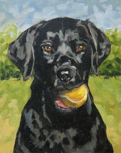 Labrador Retriever, limited edition art print in mat, from original painting Dog Canvas Painting, Animal Paintings, Acrylic Paintings, Black Cat Art, Illustrations, Pastel, Dog Portraits, Color Negra, Painting Inspiration