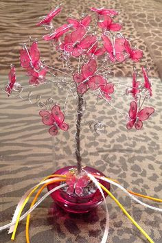 Rosa Enid Cruz Roque: Wire Tree 022 - Butterfly Tree