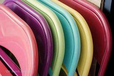 Spray paint metal folding chairs for entertaining in the backyard.   51 Budget Backyard DIYs That Are Borderline Genius