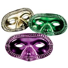 There is nothing like anonymity to make your party wild. You'll love these Mardi Gras Metallic Half Masks with elastic band in assorted colors of green, gold or purple. Each mask measures 6 1/2-inches
