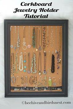 Corkboard Jewelry Holder Tutorial | #DIY #upcycled