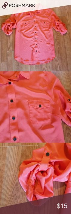 J. Crew Camp Blouse in Silk Crepe de Chine Like New! Size XL  Very bright pretty pink orange color. Like a very bright coral color. Perfect for the weekends or the office. Would look amazing with a black pencil skirt!  Measurements are in 6th and 7th photos. J. Crew Factory Tops Button Down Shirts