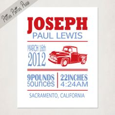 Personalized Boy's Birth Announcement, Custom Antique Ford Truck Print with Baby's name, Kid's Nursery Wall Art, Word Art, Size 8x10. $20.00, via Etsy.