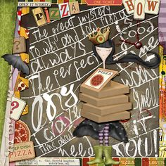 "A pizza art journal. Cover reads, in part: ""The great mystery to why and how pizza is always the perfect food. Pizza Stuff, Pizza Art, One Ticket, Greatest Mysteries, Good Pizza, Perfect Food, Mystery, Scrapbooking, Journal"
