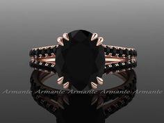 Anillo de compromiso de diamante negro oval 300 por ArmanteDesign