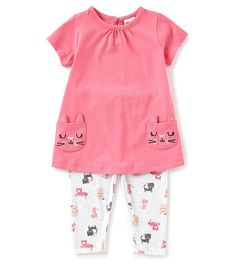 bd086aca1 Starting Out Baby Girls 3-24 Months Cat Face Short Sleeve Top   Printed  Leggings