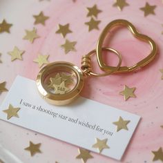 A sweet personalised yellow gold 'shooting star' keyring, the perfect gift for Valentine's Day this February Our floating yellow gold plated locket and brass keyring over stainless steel are fi. Gifts For Your Girlfriend, Gifts For Her, Valentine Day Gifts, Valentines, My Wish For You, Wishes For You, Shooting Stars, Unusual Gifts, Star Shape