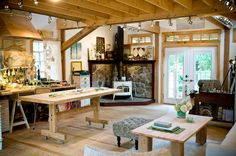 Robin Luciano Beaty's Gorgeously Green Artist Barn, Byfield, MA. Such a homey artist studio! I could paint only masterpieces in this setting!