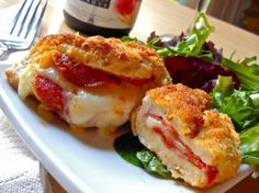 pepperoni stuffed chicken - Budget Bytes. I can use Parmesan on the outside (instead of breadcrumbs/flour) for the breading, and this is a TOTALLY low carb meal! YUM!
