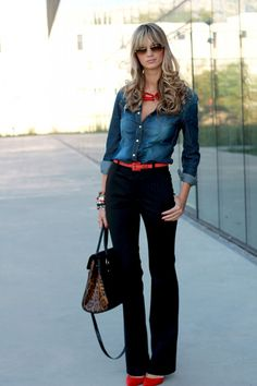 Denim shirt with high-waisted black pants and red/orange accessories...perfect mix of cas and formal