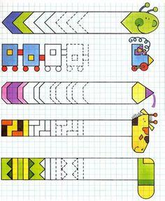 Motor Activities, Kindergarten Activities, Activities For Kids, Math Patterns, Graph Paper Art, Pre Writing, Kids Education, Kids Learning, Art Lessons