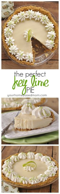 Perfect Key Lime Pie No fooling! This truly is the PERFECT Key Lime Pie. I dare you to try it and prove me wrong!No fooling! This truly is the PERFECT Key Lime Pie. I dare you to try it and prove me wrong! Easy Desserts, Delicious Desserts, Dessert Recipes, Yummy Food, Key Lime Desserts, Holiday Desserts, Lime Recipes, Sweet Recipes, Key Lime Pie Rezept