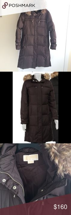 MICHAEL Michael Kors Down Hooded Parka Quilted down parka features an attached hood with removable faux fur trim. Two chest zippered pockets. Full zip closure with snap neck. Snaps at cuff. Worn once, falls below knees. Color: Expresso Michael Kors Jackets & Coats Puffers