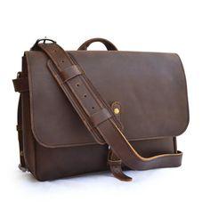 US Postal Bag Mens Leather Messenger Bag Men by SolidLeatherCo