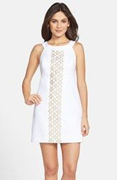 Lilly Pulitzer® 'Jacqueline' Embroidered Textured Cotton Shift Dress