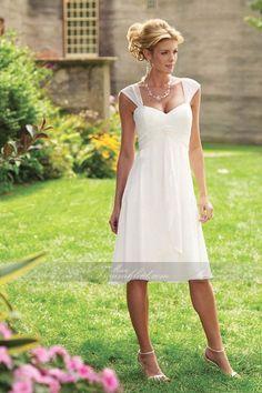 Gekappte ärmel Herz-Ausschnitt Meeresstrand Chiffon A-Linie einfaches knielanges Brautkleid