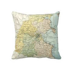Vintage Map of Dublin and Surrounding Areas (1900) Pillows from Zazzle.com $62.40