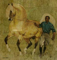 Ludwik Antoni Maciąg (1920-2007), malarz polski 'Jeździec prowadzący konia'