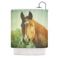 Kess InHouse Robin Dickinson Ct Green Brown Shower Curtain