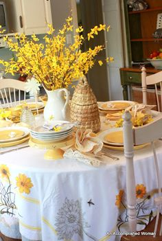 Forsythia and Bees Tablescape