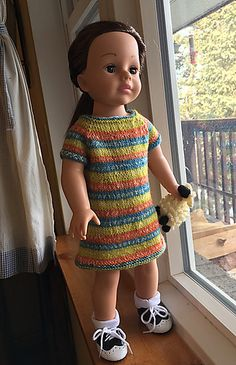"Top-down, raglan construction using self-striping or other yarn for 18"" doll, such as American Girl, Madame Alexander Play Doll, etc. Instructions for both knitting in-the-round and flat are included."