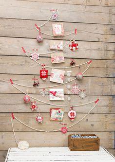 Albero di Natale da parete con corda o filo di cotone