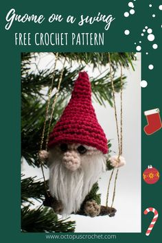 Christmas is just around the corner, and it's time to prepare your year end decorations! The Gnome on a swing crochet pattern is a fun ornament to hang in your Christmas tree, and it's an easy, beginner friendly pattern. Great DIY gift for your loved ones, but I warn you, you're gonna want one for yourself too! #crochetgnome #christmascrochet #crochetornament #amigurumi #christmasamigurumi Crochet Ornament Patterns, Crochet Ornaments, Christmas Crochet Patterns, Holiday Crochet, Crochet Gifts, Amigurumi Patterns, Crochet Christmas Decorations, Crochet Decoration, Christmas Tree Ornaments