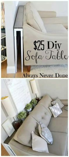 simple DIY sofa tables Sofa table behind couch and against the