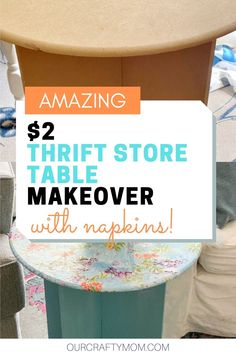 before and after table makeover Decor Crafts, Diy Home Decor, Painted Furniture For Sale, Side Table Makeover, Thrift Shop Finds, Outdoor Paint, Round Side Table, Diy Table, Furniture Makeover