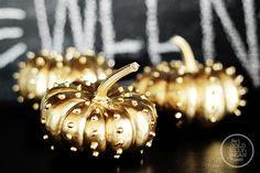 Gold Studded Pumpkins, Fall Halloween Decor