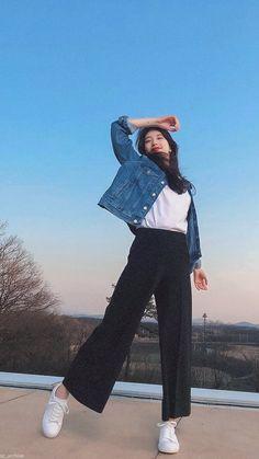 Korean Beauty Girls, Korean Girl Fashion, Suzy Bae Fashion, Kpop Outfits, Cute Outfits, Fashion Outfits, Casual Hijab Outfit, Bae Suzy, Korean Actresses