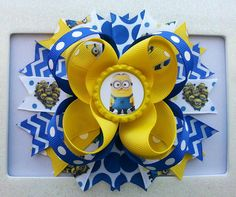 Despicable Me Minions Inspired Hair Bow by DLovelyBOWtique on Etsy, $8.99