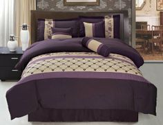 """11 Piece King Purple and Beige Embroidered Bed in a Bag Set by KingLinen. $104.99. This designer comforter set features floral embroidery accented with lattice and stripes on soft microfiber. Great for any bedroom. 3 decorative pillows included.FeaturesSize: KingColor: Purple/BeigeThis set includes:1 Comforter (101""""x86"""")2 Shams (20""""x36"""")1 Bedskirt(78""""x80""""+14"""")3 Decorative CushionsPlus 300 Thread Count Cotton Sheets:2King pillowcases (20"""" x 40"""")1King flat sheet (..."""
