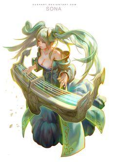 league of legends- Sona by *Cushart on deviantART