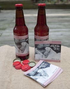 """Customer Jill B. shared this photo of her #BYB labels in action. Jill writes,""""My husband and I both grew up visiting Gus and Ida, the polar bears in New York's Central Park Zoo. We wanted to honor this iconic New York couple for our Valentine's Day batch of homebrew."""" Thanks for sharing, Jill! #customlabels #beerlabels #homebrew"""