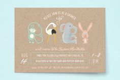 Animal Letters Baby Shower Invitations by Kaydi Bishop at minted.com